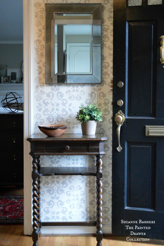 Stenciled Walls in Foyer with Vintage Mirror - full tutorial on www.thepainteddrawr