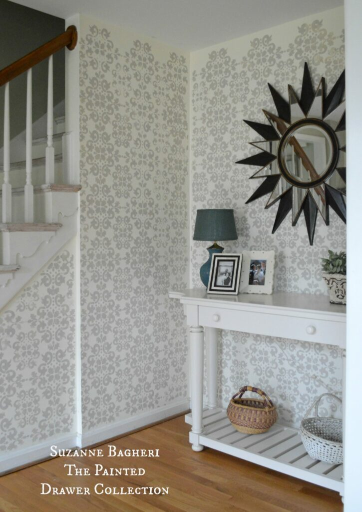 Stenciled Walls in the foyer by www.thepainteddrawer.com full tutorial on blog