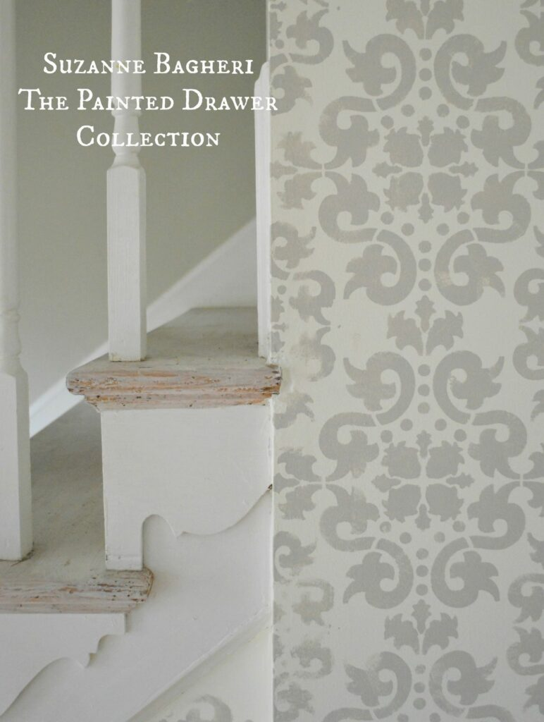 Stenciled Walls in the foyer by www.thepainteddrawer.com with full tutorial on the blog