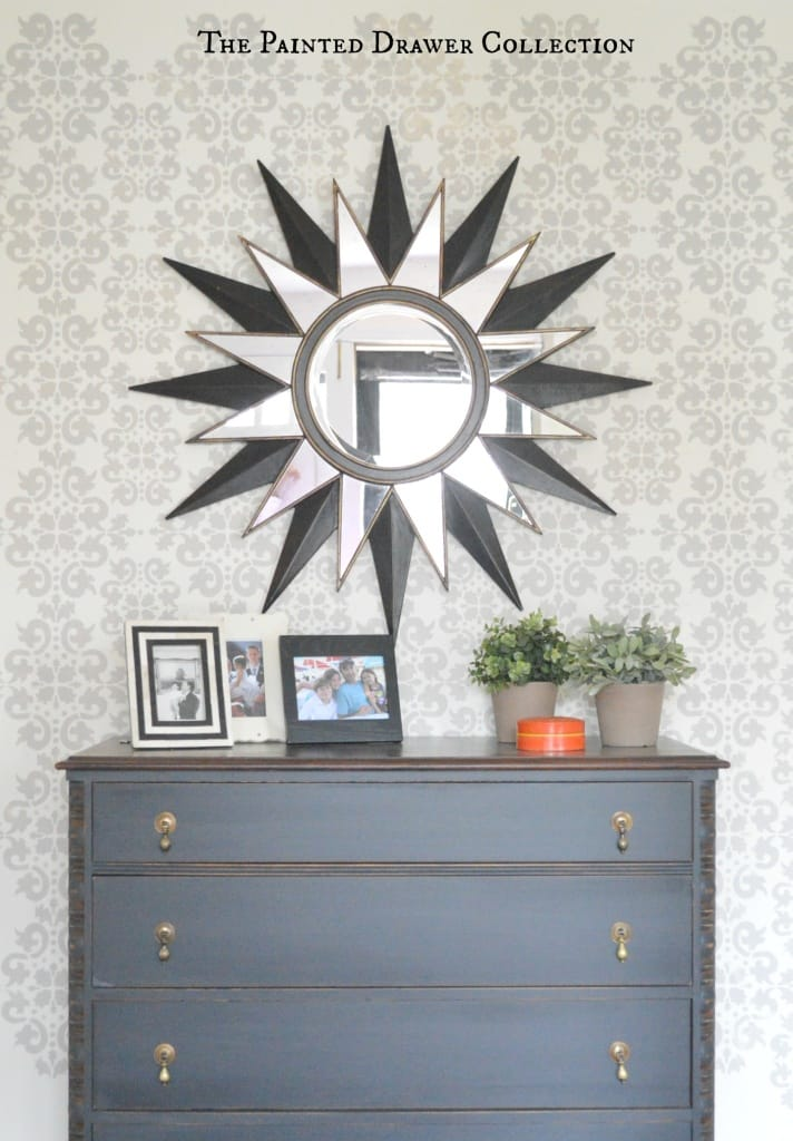 Stenciled Walls with Vintage Chest of Drawers by www.thepainteddrawer