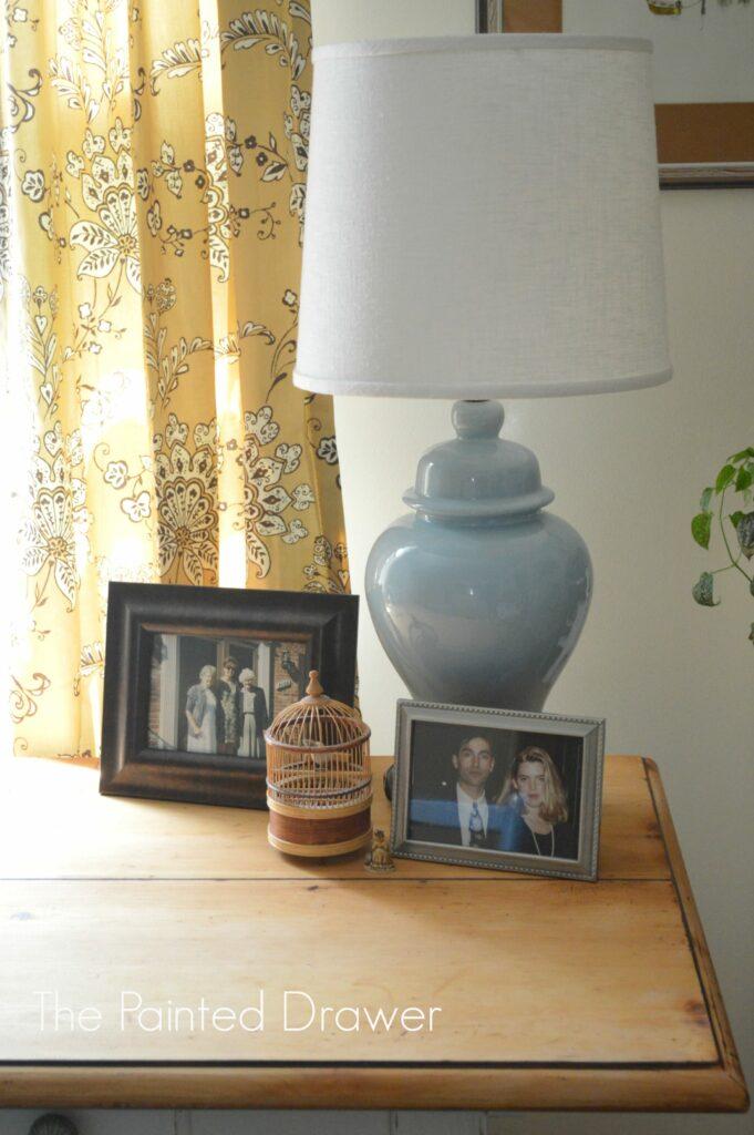 Home Office, vintage ceramic lamp, mustard curtains, country room, www.thepainteddrawer.com