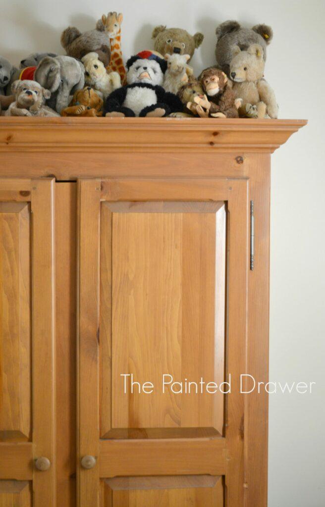 Steiff Stuffed Animals, vintage armoire, steiff collection www.thepainteddrawer.com