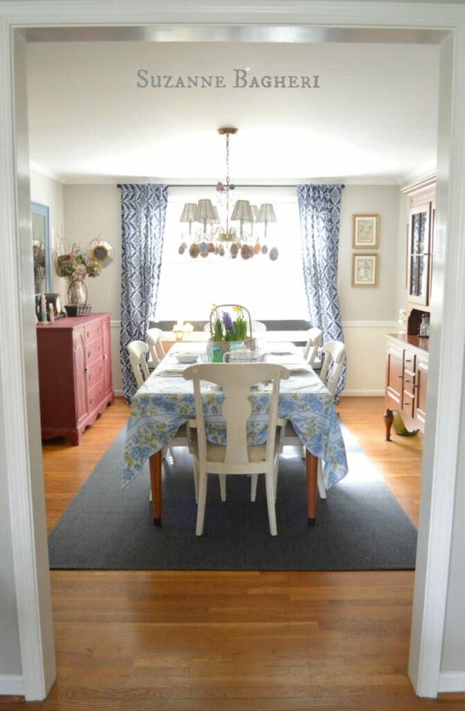 Dining Room Decorated for Easter, Farmhouse Decor, by Suzanne Bagheri