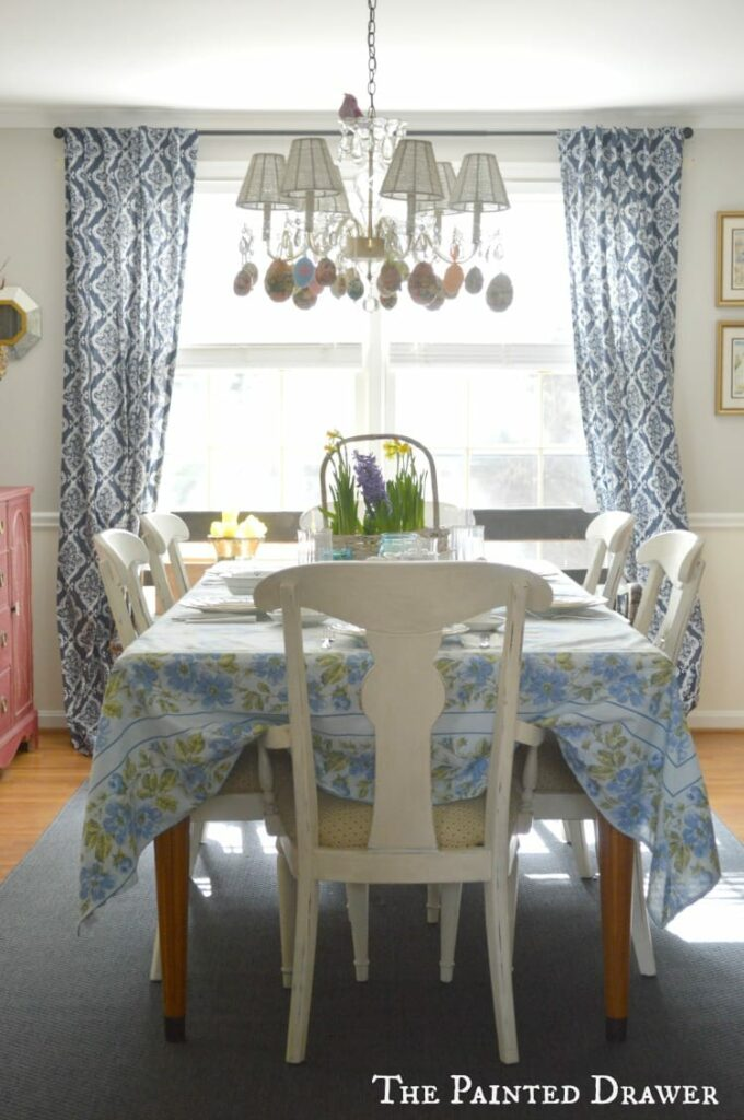 Dining Room Decorated for Easter, farmhouse dining room Suzanne Bagheri