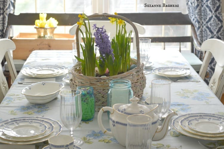 Dining Room for Easter by Suzanne Bagheri, Easter Eggs, Basket Bulb Garden