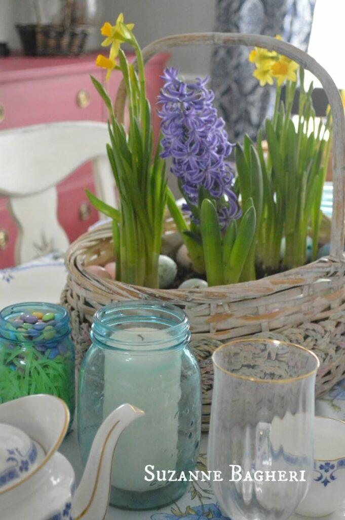 Easter Basket Bulb Garden in Dining Room Decor