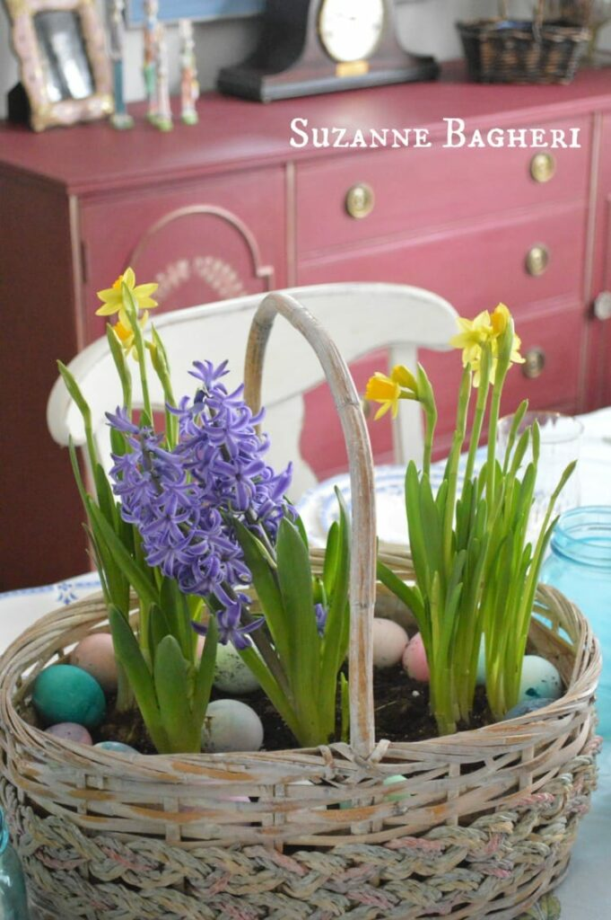 Easter Dining Room Decor by The Painted Drawer with Annie Sloan Bugundy Buffet