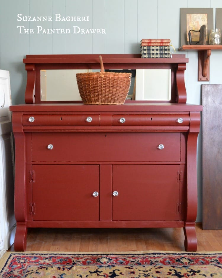 Empire Chest in Rembrandt Red General Finishes by Suzanne Bagheri, painted dresser, painted red