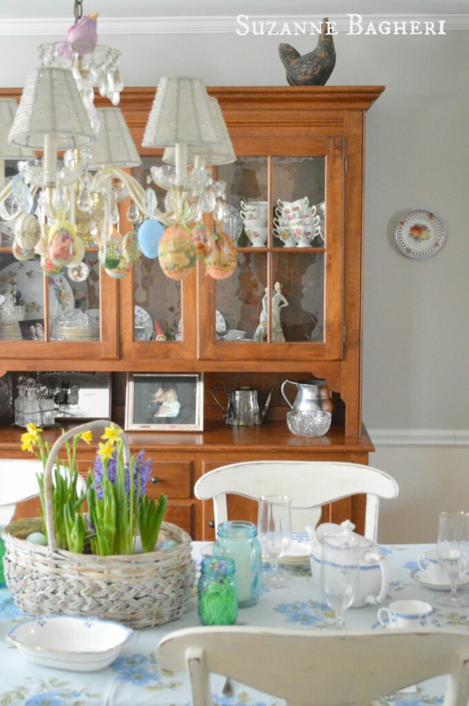 Farmhouse China Cabinet, Easter Decor by Suzanne Bagheri