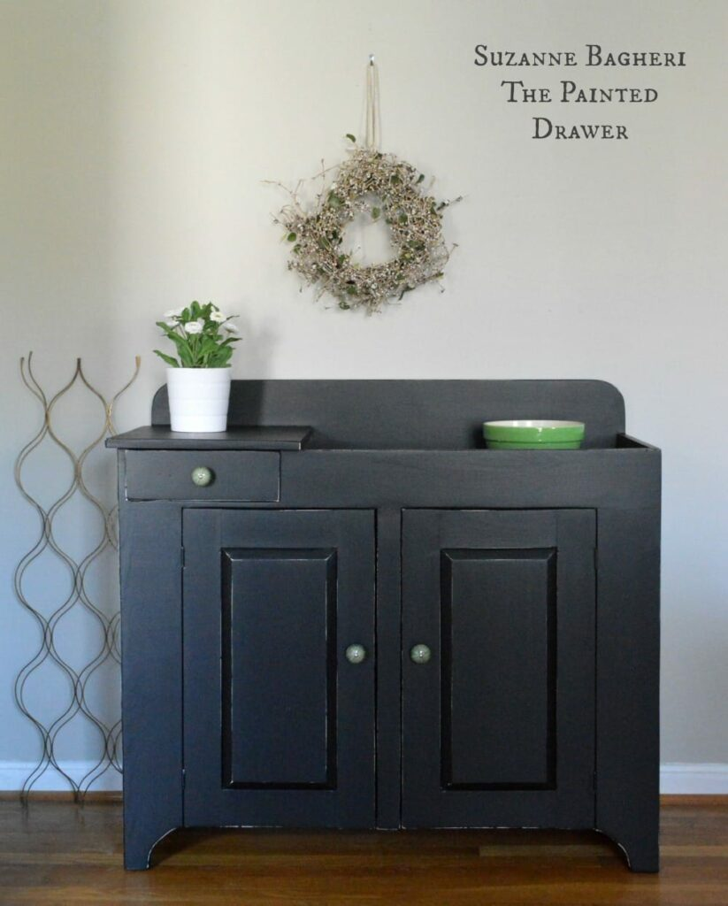 Farmhouse Dry Sink in General Finishes Black Paint by Suzanne Bagheri of The Painted Drawer