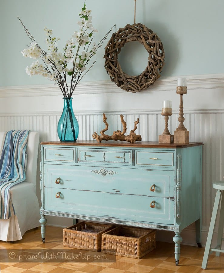 Blue Painted Dresser by Orphans with Makeup