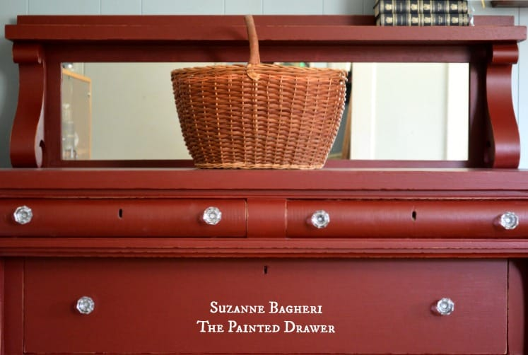 Painted Dresser in Red by Suzanne Bagheri with Glass Pulls by D.Lawless Hardware