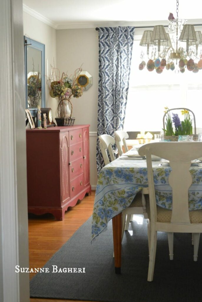 Painted buffet in Annie Sloan Burgundy, farmhouse Dining Room