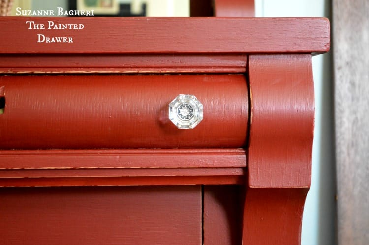 Pretty in red paint and glass hardware, painted dresser by Suzanne Bagheri
