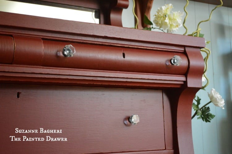 Rembrandt Red by General Finishes, glass pulls by D.Lawless Hardware, painted red by Suzanne Bagheri