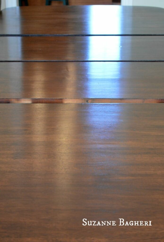 Tabletop refinished in General Finishes Java Gel Stain with Wipe-on Urethane Sealer