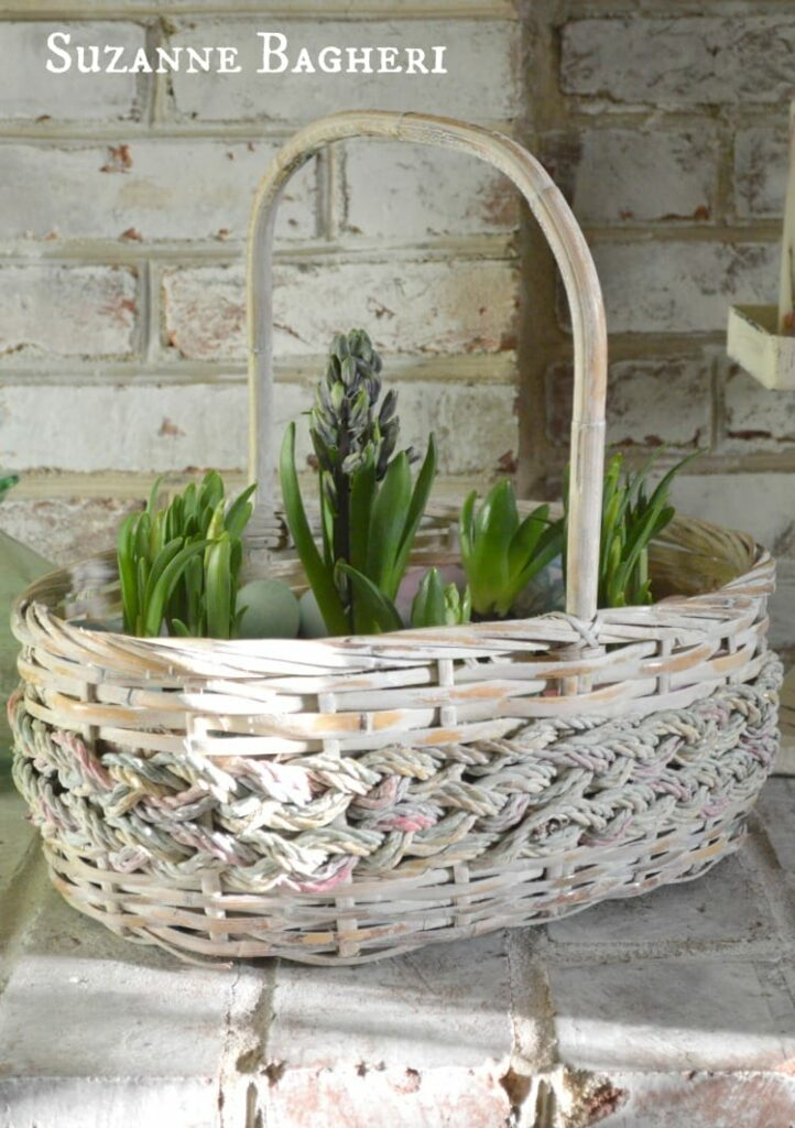 Vintage Basket Spring Bulb Garden for Easter