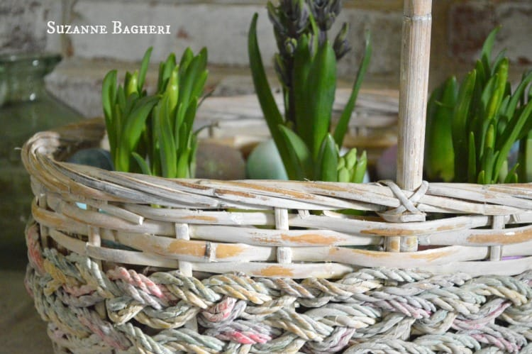 Vintage Basket Whitewashed for Spring