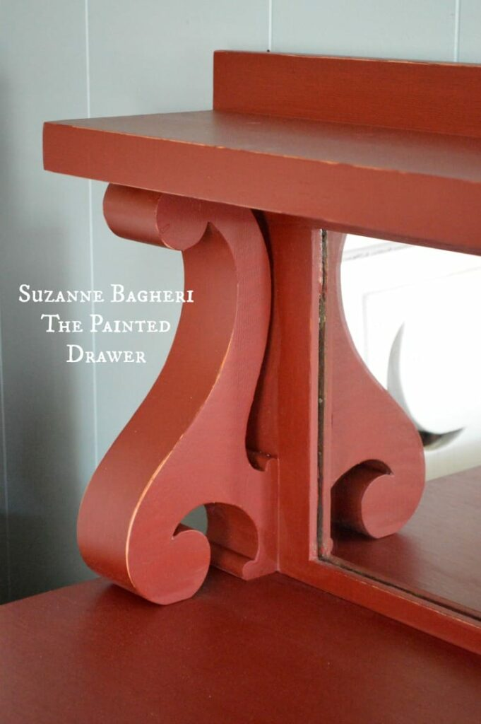 Vintage Detail in an Empire Piece, painted red, milk paint, chalk paint by Suanne Bagheri