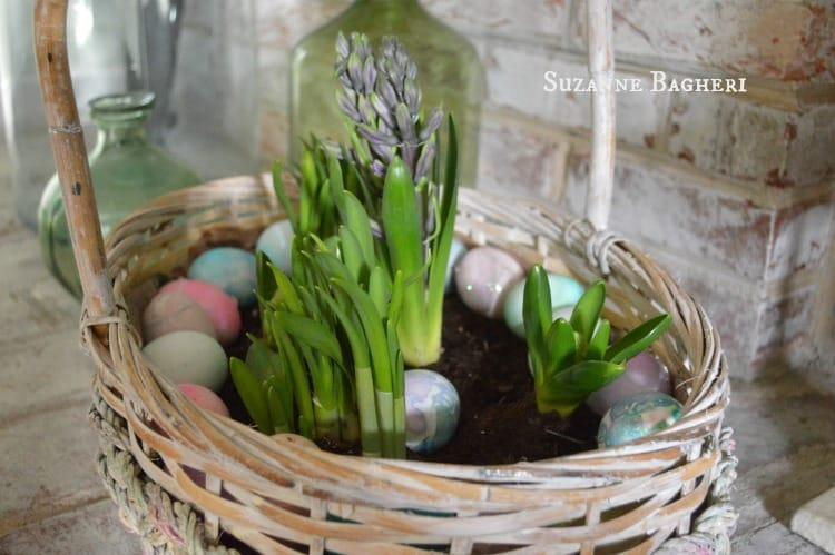 Vintage Easter Basket Bulb Garden