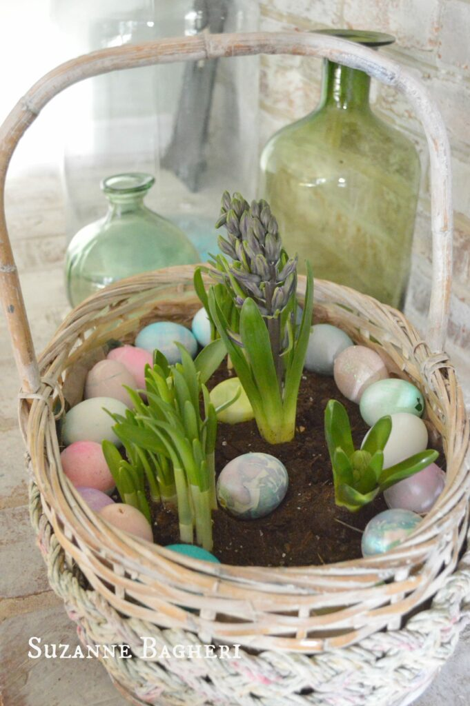 Vintage Easter Basket Centerpiece for spring