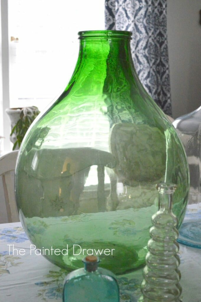 vintage glass vase found at thrift store