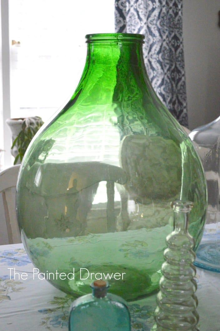 Vintage Green Glass Vase Thrift Store Find