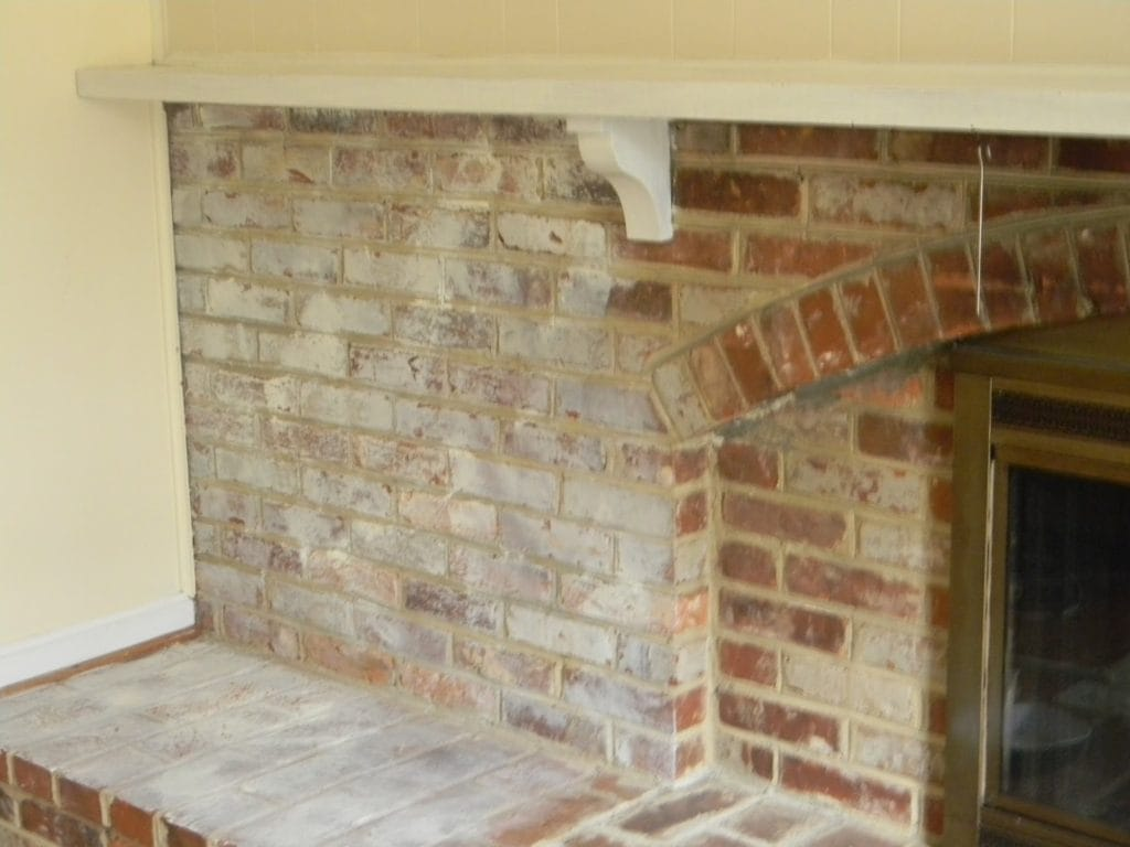 whitewashed brick in progress