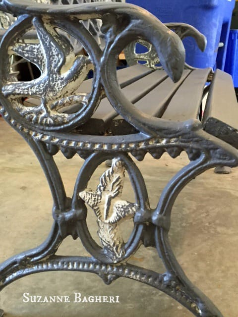 Cast Iron Garden Bench in Driftwood