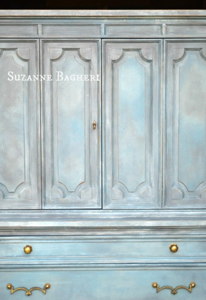 Painted Armoire in Annie Sloan Chalk Paint color mix by Suzanne Bagheri, The Painted Drawer