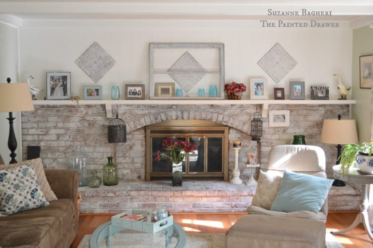 Summer Family Room, whitwashed brick fireplace, blue and white
