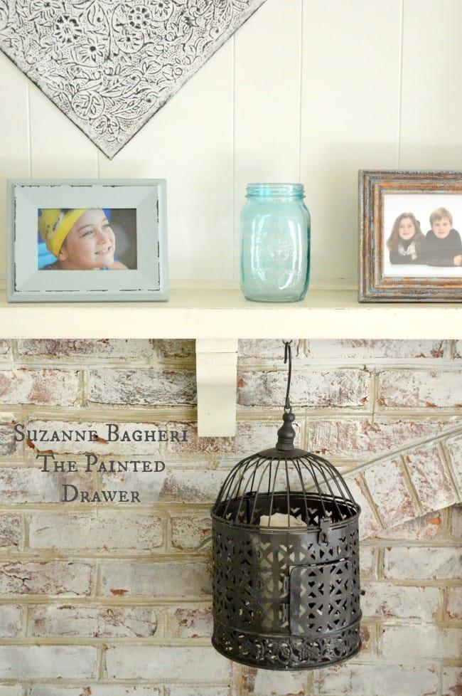 Summer Mantel decor, whitewashed brick, family room decor
