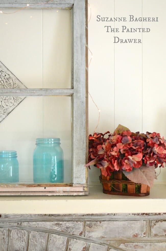 summer mantel, blue mason jar, whitewashed brick
