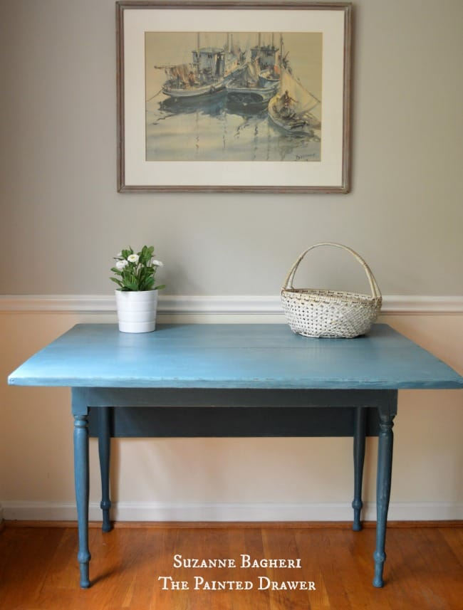Farmhouse Table in blue extended