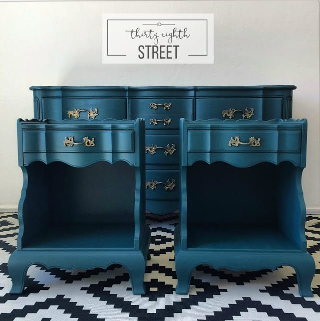Refinished Bedroom Set Using Country Chic Paint and Metallic Cream 0979 The Dixie Collection Thirty Eighth Street shared on the Painted Drawer Link Party
