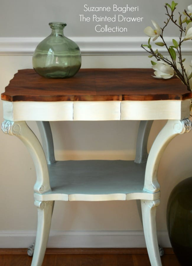 Vintage Table Painted in Country Chic Icicle by The Painted Drawer