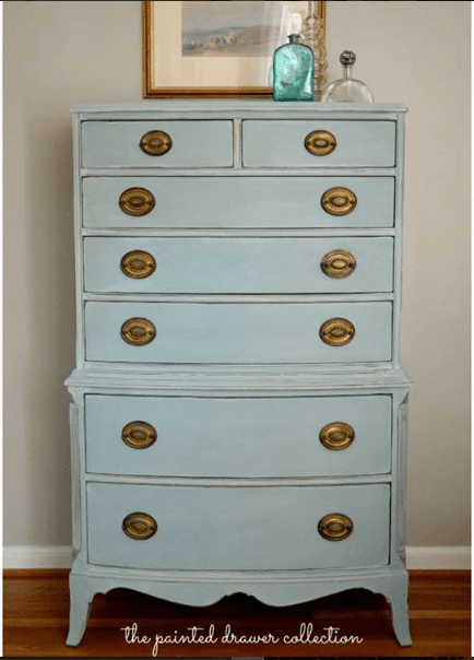 Annie Sloan Duck Egg mix on vintage dresser by The Painted Drawer Collection