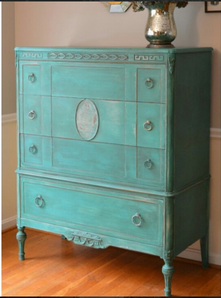 Annie Sloan Florence mix on a vintage dresser by The Painted Drawer