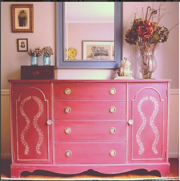 Buffet in Annie Sloan Burgundy mix by The Painted Drawer