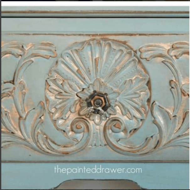 Drawer Painted in Annie Sloan chalk paint mix by The Painted Drawer