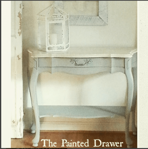 French Linen with marble top painted French Table by The Painted Drawer