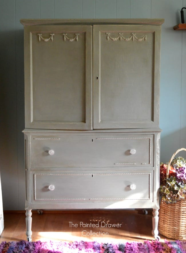 French Linen And Gold Sideboard Transformation Before