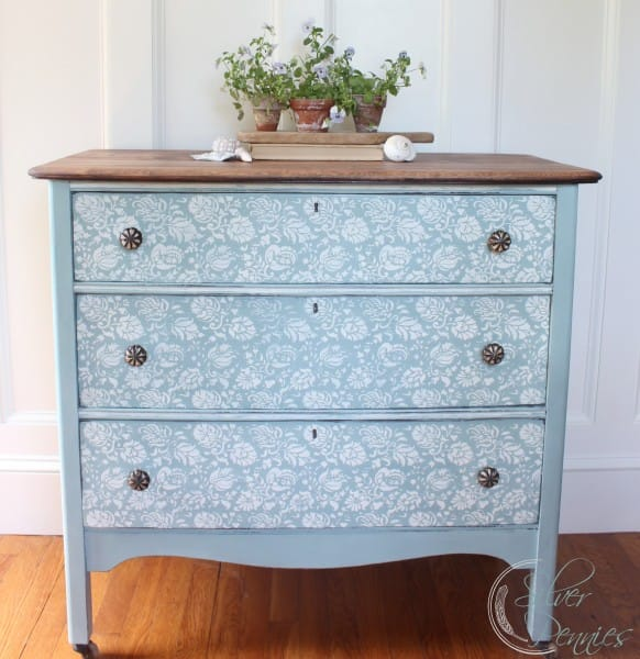 Tell Us Tuesday, Stenciled dresser by Finding Silver Pennies