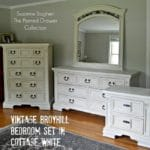 Vintage Broyhill Bedroom Set in Annie Sloan Old Ochre and Old White