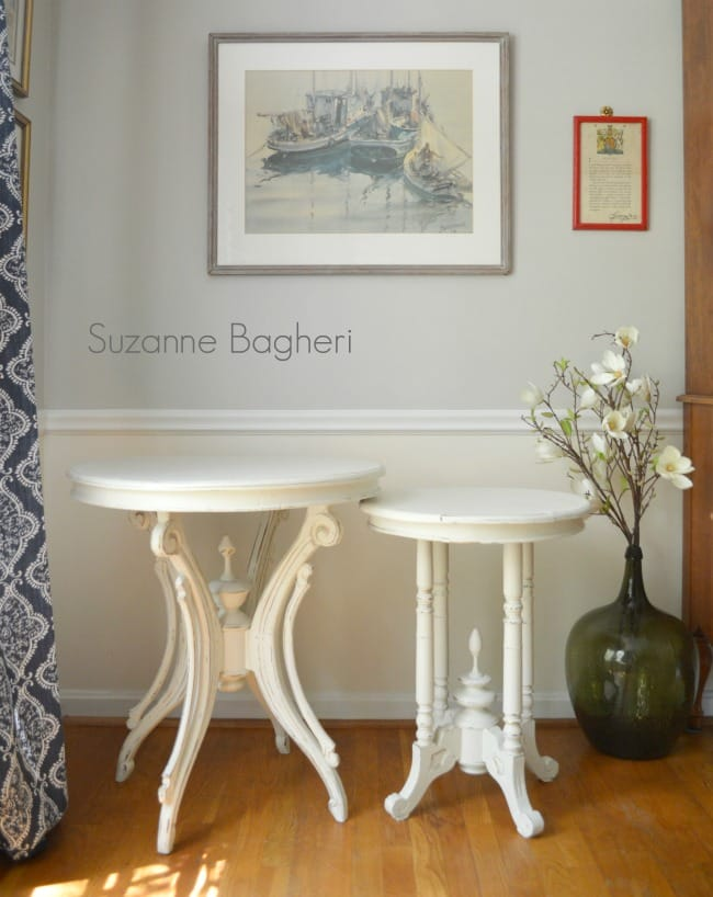 Creamy White Vintage Tables Before and After