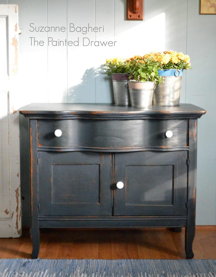 Midnight Blue Farmhouse Cabinet Before and After