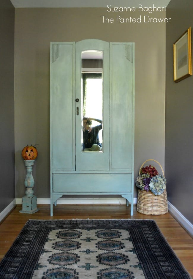 Vintage Armoire Before and After and Poised Taupe Foyer