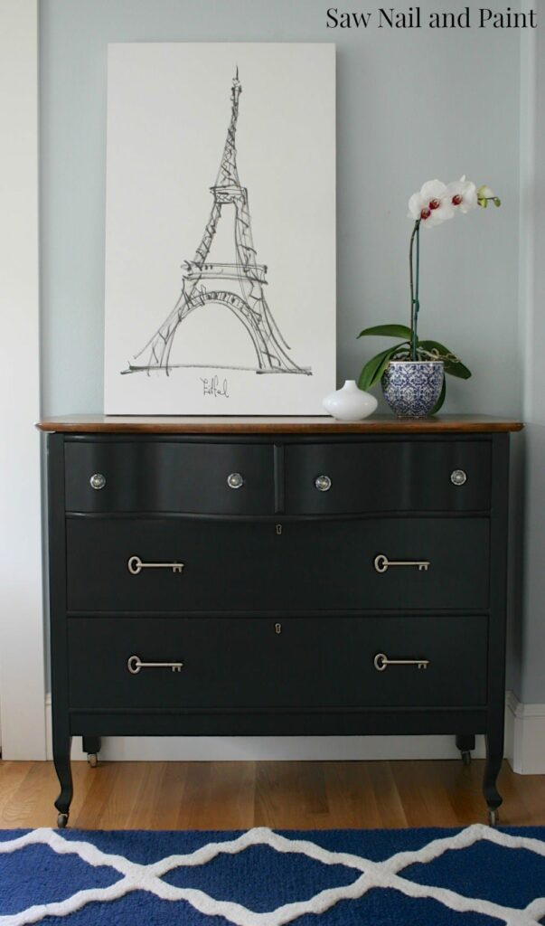 Serpentine Dresser with Vintage Inspired Key Pulls by Saw Nail and Paint