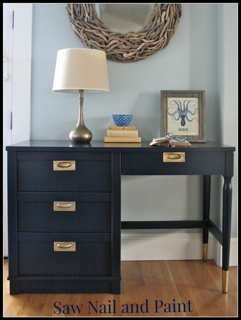 Retro Coastal Blue Desk by Saw Nail and Paint