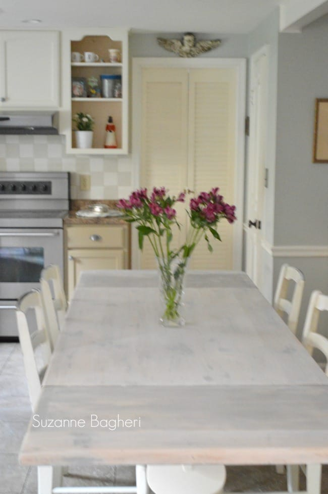 Whitewashed Farmhouse Table Before and After